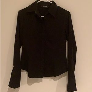 Express form fitting button down blouse.